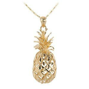18K Gold Dipped Pineapple Charm Necklace NEW